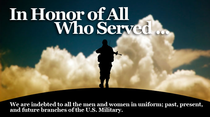 In Honor of All Who Served ...We are indebted to all the men and women in uniform; past, present, and future branches of the U.S. Military.